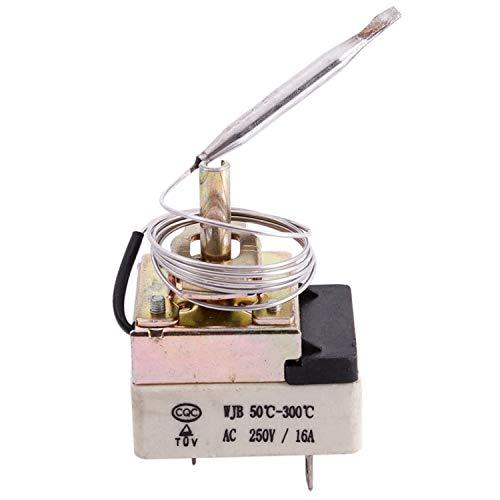 GGBEST AC 16A 250V 50 a 300 Grado Celsius 3 pines Termostato capilar NC para horno electrico