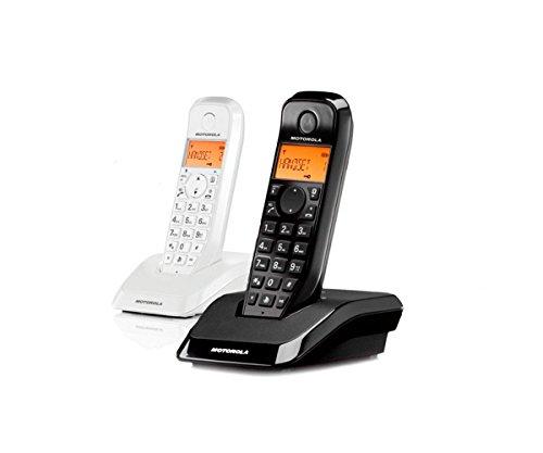 Motorola S1202 Duo - Teléfono fijo inalámbrico, color blanco y negro
