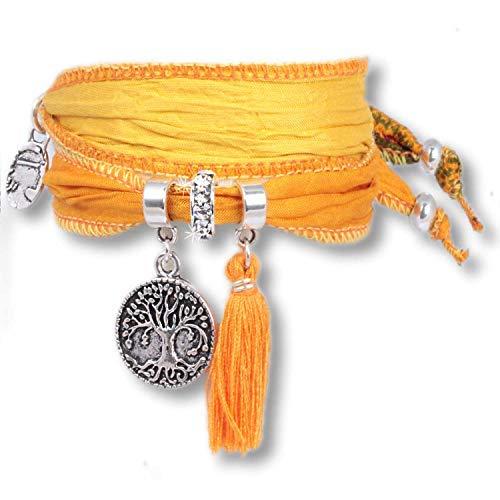Anisch de la Cara Mujeres Pulsera Amarillo limón - Pulsera simbólica del árbol de la Vida Hecha de Saris Indios Tree of Life - Arte no 2223-i
