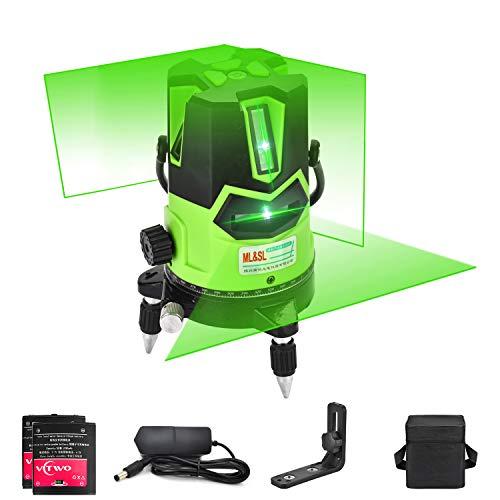 Livella laser a raggio verde 3D - Livella orizzontale orizzontale a livello laser autolivellante con piombo a piombo, base girevole a 360 °, modalità inclinazione e esterno