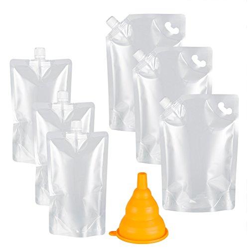 Kichwit Plastic Liquor Pouches Drinking Flasks, Reusable Liquid Spout Bags, BPA Free, 3 32oz, 3 16oz, Collapsible Silicone Funnel Included, Transparent