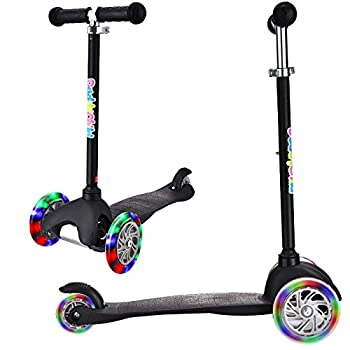 3 Wheel Scooters for Kids Kick Scooter for Toddlers 2-6 Years Old Boys and Girls Scooter with Light Up Wheels Mini Scooter for Children  Black