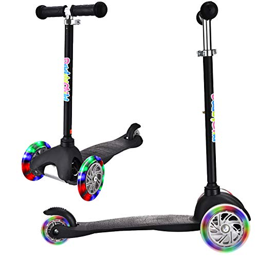3 Wheel Scooters for Kids, Kick Scooter for Toddlers 2-6 Years Old, Boys and Girls Scooter with Light Up Wheels, Mini Scooter for Children (Black)