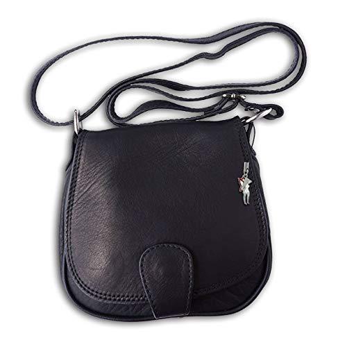 Florence Moderne Damen Umhängetasche Abendtasche schwarz echtes Leder OTF103S Leder Umhängetasche