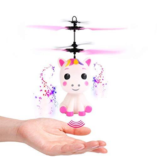 DUOCACL Jouet de Licorne Volante Boule Volante avec lumière LED contrôlée à la Main, fée Volante Jouets hélicoptère Licorne Anniversaire pour Filles garçons Enfants