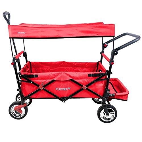 FUXTEC faltbarer Bollerwagen FX-CT800 rot klappbar mit Dach, Vorder- und Hinterrad-Bremse, Vollgummi-Reifen, Bügel,Innenraumverlängerung für extra lange Beine, für Kinder geeignet - Das Original !
