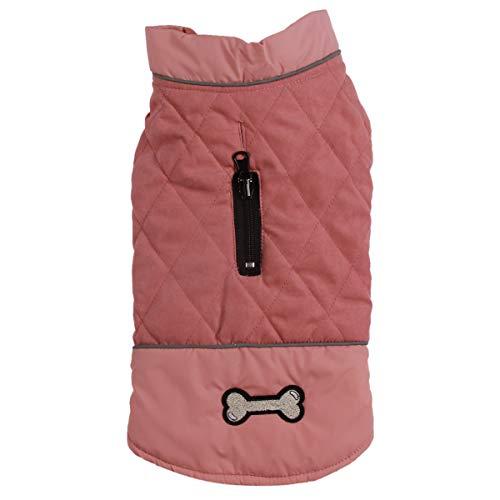 JoyDaog Wendehundemäntel für kleine Hunde wasserdichte, warme Welpenjacke aus Baumwolle für den kalten Winter, Rosa XS