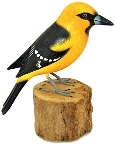 Brave Wings Hand Carved and Painted Wooden - Altamira Oriole (Icterus gularis) Bird - Wood Ornament Sculpture Figurine Statue Unique Table Decoration Home Decor Gift for Birthdays - - 15