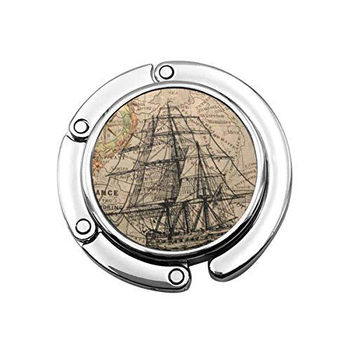 Perchero Monedero Plegable Lindo Gancho Monedero Vela Mapa Antiguo de Europa Barco...