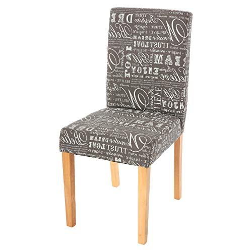 Mendler Esszimmerstuhl Littau, Küchenstuhl Stuhl, Stoff/Textil ~ Schriftzug grau, helle Beine