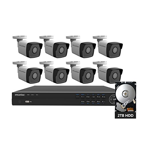 LaView 2K 8 Channel Security Camera System (2688 x 1520), 4K PoE NVR HDMI – 8 Camera 4MP Bullet IP Surveillance Cameras, 100ft Night Vision, Pre-Installed 2TB Hard Drive
