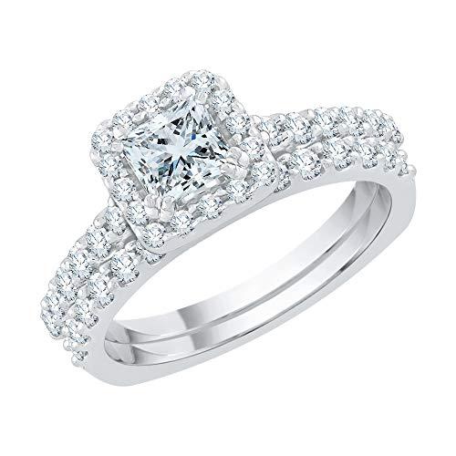 Katarina 14 quilates oro blanco round-shape princess-shape J-K Diamond