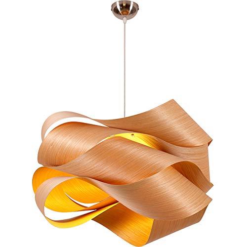 Kronleuchter Modernes einfaches Holzfurnier Lampe Wellen-Kurven-Hängeleuchte Handgemachte natürliche Eiche Natur aus Holz Chrome Flush Mount Deckenbeleuchtung E27 Pendelleuchte,L