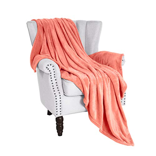 Exclusivo Mezcla Twin Size Flannel Fleece Velvet Plush Bed Blanket as Bedspread/Coverlet/Bed Cover (60' x 80', Coral) - Soft, Lightweight, Warm and Cozy