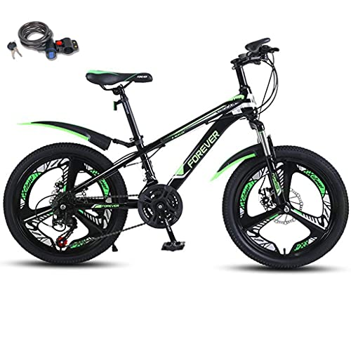 Bicicleta montaña 20 pulgadas con bloqueo bicicleta, suspensión doble 21 velocidades Engranajes MTB de suspensión completa Frenos disco doble Bicicleta montaña para niños Bicicleta 10-13 años,Verde