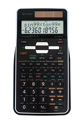 Sharp EL-506TSBBW 12-Digit Engineering/Scientific Calculator with Protective Hard Cover, Battery and Solar Hybrid Powered LCD Display, Great for Students and Professionals, Black