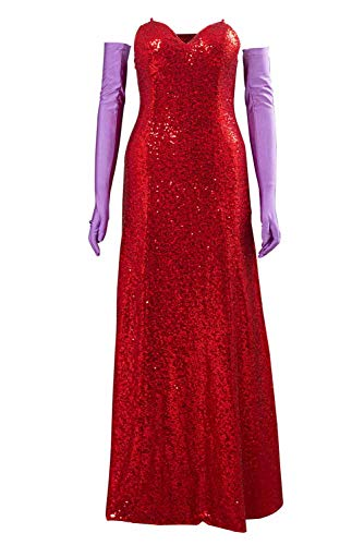 Bilicos Roger Rabbit Jessica Rabbit Kleid Outfits Halloween Karneval Cosplay Kostüm Damen M