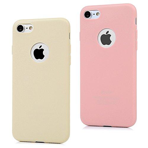 MAXFE.CO 2X Cover iPhone 7 Custodia Silicone Morbido TPU Flessibile Gomma Opaco Candy Case Antiscivolo Satinato, Ultra Sottile Cassa Protettiva Antiurto AntiGraffio per iPhone 7 (4.7') - Rosa, Giallo