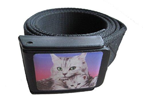fret-free Easy Belt. Der bequeme Reisegürtel aus Kunststoff für den raschen Check In am Flughafen. (L/XL 120 cm, schwarz Katze)