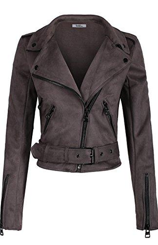 BodiLove Women's Slim Tailoring Suede Leather Zipper Moto Biker PU Bomber Jacket Steel M(PK438)