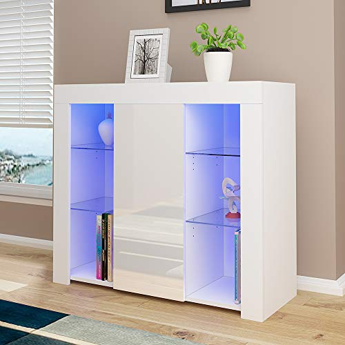High Gloss Sideboard Cabinet Cupboard Storage Sideboard With 4 Glass Shelves Display Rack Cabinet Unit for Living Room Dining Room Glass Cabinets, With RGB LED Light (White)
