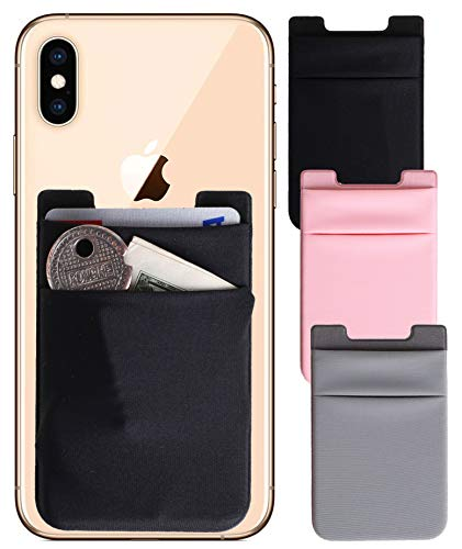Stick on Wallet 3 Packs [Double Secure] Nylon Pouch Ultra-slim 3M Self Adhesive Card Holder Stick on Phone Sleeves with Pocket for Smartphones ([Double]Black+Grey+RoseGold)