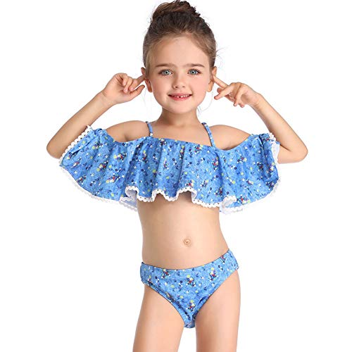 Traje De Baño De Niña,Traje De Baño Bikini De Dos Piezas con Volantes, Niña De 5-14 Años Nadar Ropa, para Baño Playa Fiesta Piscina,164
