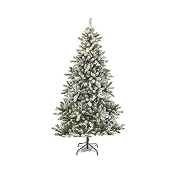 NOMA 7 Ft Pre-lit Flocked Cypress Artificial Christmas Tree with 350 Color-Changing Warm White & Multi-Color LED Lights with 10 Modes   988 Tips