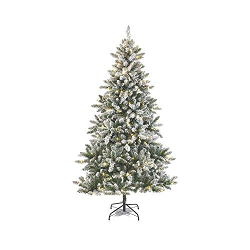 NOMA 7 Ft. Pre-lit Flocked Cypress Artificial Christmas Tree with 350 Color-Changing Warm White & Multi-Color LED Lights with 10 Modes | 988 Tips