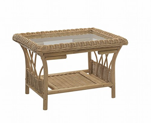 Desser Viola Coffee Table with Storage Shelf – Glass Top Table with Light Oak Wicker Rattan Cane Pole Frame Indoor Conservatory or Living Room Furniture - H48cm x W72cm x D60cm