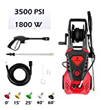 DREAMVAN 3500 PSI Electric High Pressure Washer Max 2.6 GPM High Pressure Washer 1800 W Power Washer with 5 Nozzles, Hose Reel, 32ft Cable, Detergent Tank and Spray Gun [US Stock]