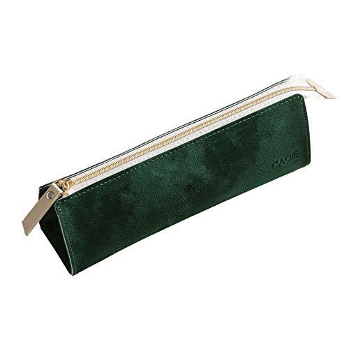 Suading Estuche para LáPices Estuche PequeeO de Cuero para NiiAs y Adultos Estuche para LáPices Estuche para Maquillaje Estuche con Cremallera para Marcadores (Verde)