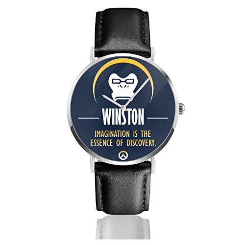 Unisex Business Casual Winston Imagination is The Essence of Discovery Ov-erwatch Quarzuhr Leder mit schwarzem Lederband für Männer und Frauen Young Collection Geschenk