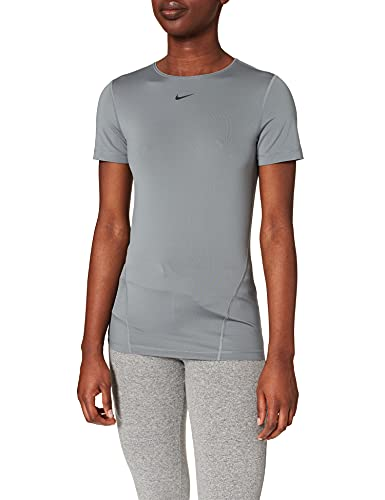 Nike Damen Pro Essential T-Shirt, Smoke Grey/Black, XS