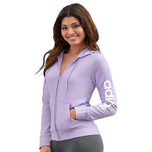 adidas Damen Essentials Inkl. Sizing Hooded Tracktop Jacke, Damen, Jacke, GVB92, Violett/Weiß, 4X