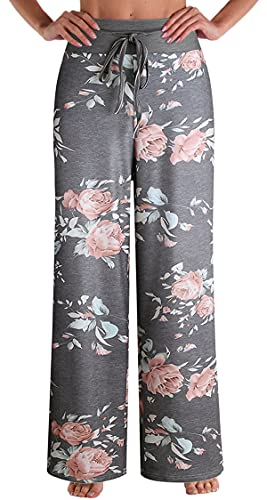 X-Image Women's Pajamas Comfy Pajama Lounge Pants Floral Print Drawstring Wide Leg Palazzo Pants Dark Grey 1, Medium