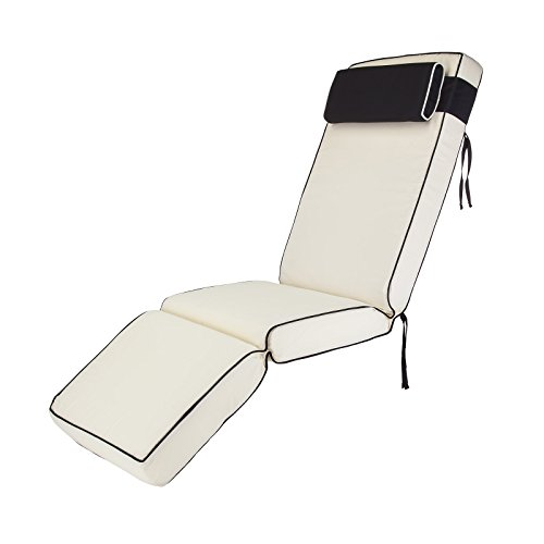 Alfresia Sun Lounger Cushion Replacement Seat Pad   Water Resistant with Headrest (Cream)