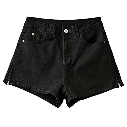 N\P Side Zipper Denim Shorts Women's Wide Leg Pants high Waist Slim Casual Jeans Black