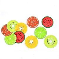 カップパッドカラフルなカップパッドフルーツカップマットシリコンカップマット絶縁カップパッド新鮮で美しい10ピースクリエイティブでなさまざまなフルーツモデリング心込み作られた、絶妙なクラフト