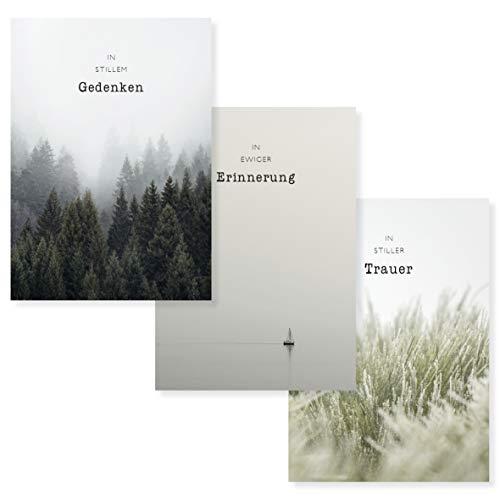 PETIT PAOLO Trauerkarten 3er-Set. 3 Klappkarten (innen blanko) mit hochwertigen Umschlägen für eine aufrichtige Anteilnahme. Nachhaltige Beileidskarte für Trauerfall o. Beerdigung.