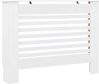 Dioche – Cubierta para radiador con acabado mate MDF, cubierta para radiador, color blanco, 112 × 19 × 81,5 cm, cubierta para el radiador con estante 7 discos horizontales