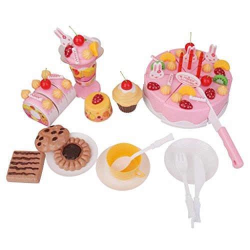 Sharplace Lot de 75PCS Jeux d'imitation Gâteau Anniversaire à Découper en Plastique Jouet Enfant Cadeau Anniversaire Noël Fête - Rose