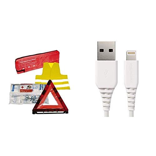 Tuningmods® 3in1 KFZ Verbandskasten Kombitasche - Trio mit Warnweste, Erste Hilfe Set und Warndreieck & AmazonBasics Lightning auf USB A Kabel, Apple MFi Zertifiziert - Weiß, 0,9 m, 1er Pack