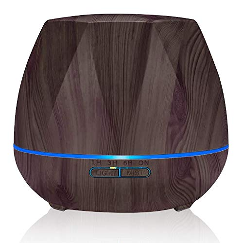 HC LIFE Difusor de Aceites Esenciales 500mL Humidificador Ultrasónico de Aromas , 7 Colores de Luz LED dos modos, Temporizador,...
