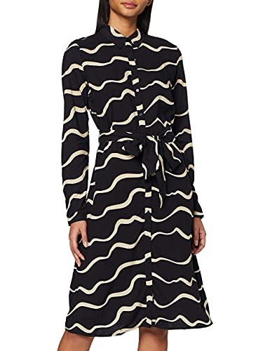 TOM TAILOR Damen Blusenkleid Kleid, Beige (Black Beige Wave des 21553), (Herstellergröße: 38)