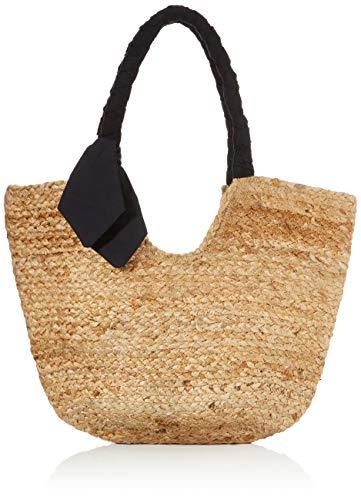 PIECES Womens PCMILO STRAW BAG Tasche, Nature Detail:SOLID Black Strap, Einheitsgröße