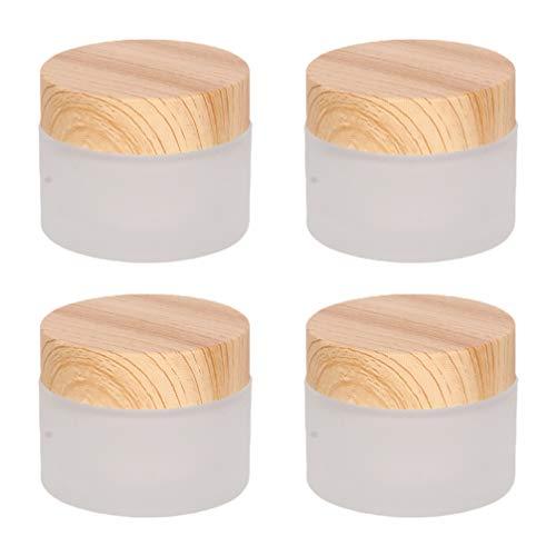 Lurrose 4 Unidades 30G Botellas Redondas de Crema de Vidrio Tapa de Grano de Madera Contenedor de Cosméticos para Maquillaje Bálsamo Labial Crema para Ojos