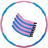 QUANOVO Hula Hoop y los niños y Adultos extraíble Dimensiones de diseño Ajustables para el año Deportivo para Perder Peso, Quemar Grasa, Exterior Interior Aros, Azul/Rosa