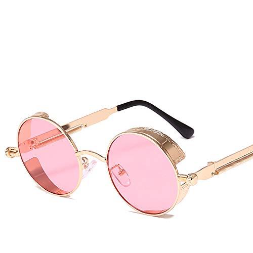 Sxmy Gafas de sol de marco redondo, metal de moda de primavera, lentes de sol reflectantes coloridas para mujer, 8