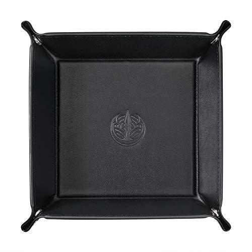 OARIE Men Valet Tray,Jewelry Tray Key PU Leather Valet Tray Box, Fully PU Leather Storage Tray(Black)